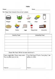 English worksheets: Food and Nutrition!