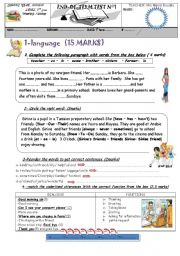 English Worksheet: END OF TERM TEST 1 7TH FORM
