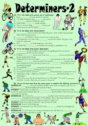 English Worksheet: Exercises on EACH, EVERY, EITHER, NEITHER, BOTH, ALL, SEVERAL, OTHER, ANOTHER, ONE, MUCH, MORE, MOST, MANY,  ENOUGH. (Editable with Key)