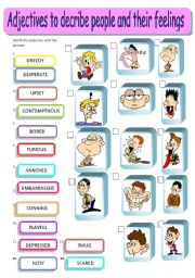 English Worksheet: Adjectives describing people and their feelings - matching, editable