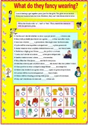 English Worksheet: What do they fancy wearing? - Conjunctions - and, or , but (with B/W and answer key)