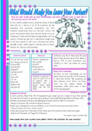 English Worksheet: What would make you leave your partner? � comprehension and conversation [4 tasks] ((3 pages)) ***editable