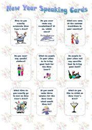 English Worksheet: New Year - set 2 - Speaking cards (editable)