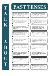English Worksheet: Past tenses - 18 conversation cards (editable)