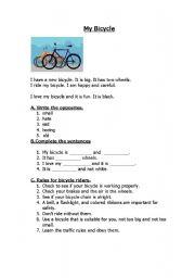 English Worksheet: My Bicycle