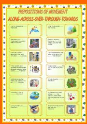 English Worksheet: PREPOSITIONS OF MOVEMENT: ALONG-ACROSS-OVER-THROUGH-TOWARDS