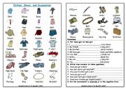 English Worksheet: Clothes Shoes & Accessories