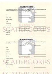 English Worksheets: Scattergories