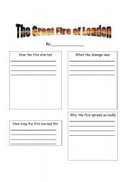 English Worksheet: Great fire of London explanation poster template