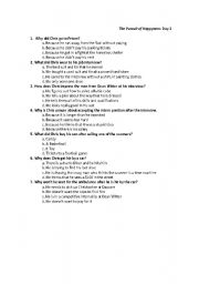 English Worksheet: Pursuit of Happyness Multiple Choice Questions