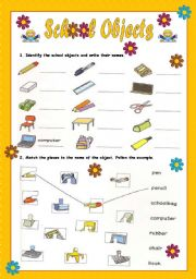 English Worksheet: School Objects - First Part