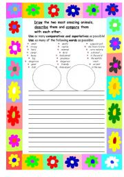 English Worksheet: comparing and describing the two most amazing animals