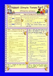 English Worksheet: Present Simple Tense * Part 2 * Affirmative sentences * 3 pages * 10 tasks * with key