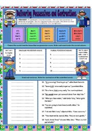 English Worksheets: Possessives and Contractions