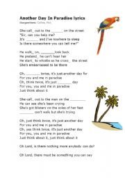 English Worksheets: Another Day In Paradise lyrics