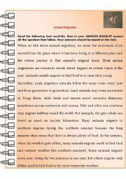 english worksheets animal migration. Black Bedroom Furniture Sets. Home Design Ideas