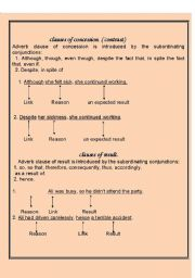 clauses of concession. ( contrast) and clauses of result