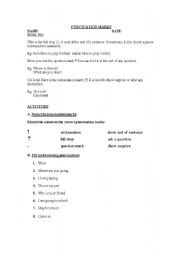 English worksheet: PUNCTUATION MARKS
