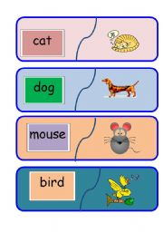 English Worksheets: Animal word to picture matching