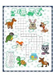 English Worksheets: PETS PUZZLE