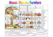 English Worksheets: house /rooms / furniture
