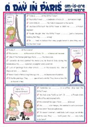 English Worksheet: A DAY IN PARIS - am/is/are/was/were