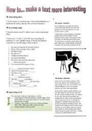 English Worksheets: How to... make a text more interesting