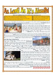 English Worksheet: Absurd Laws - Conditionals - Unless, As Long As, Even If, In Case, Provided That