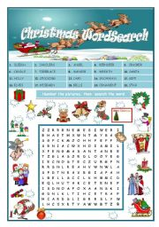 Christmas Wordsearch (editable-+ key)