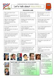 English Worksheet: Let�s talk about POLITICS