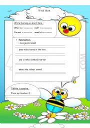 English Worksheet: handwriting / punctuations / long and short forms