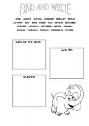 English Worksheets: Find And Write