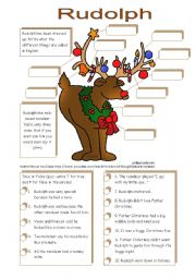 English Worksheet: Rudolph (A Christmas ws to be used with YouTube)