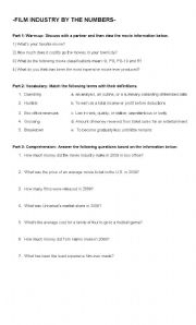 English Worksheets: Film Industry by the Numbers