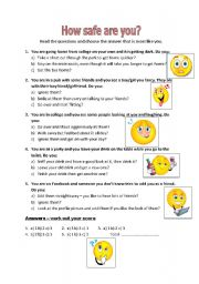 English Worksheets: How Safe Are You?