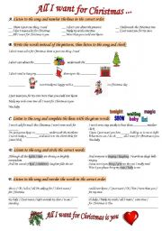 English Worksheet: All I want for Christmas ...