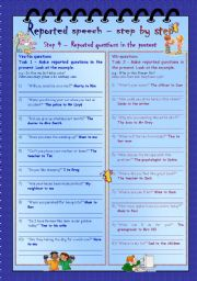 English Worksheet: Reported speech step by step * Step 4 * questions in the present * with key