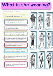 English Worksheet: What is she wearing? Women´s clothes matching activity 1/3