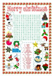 word search (christmas) and number the pictures