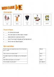 Despicable Me Worksheet