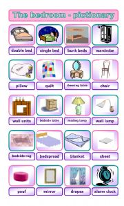 English Worksheets The Bedroom Pictionary
