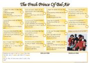 English Worksheets: Song: the fresh prince of Bel-Air [listening & grammar] lyrics included ((2 pages)) ***editable