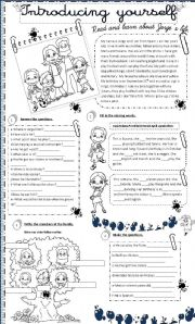English Worksheet: introducing yourself and personal information