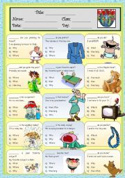 English worksheet: Question Word *multiple choices* (*_*)