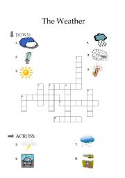English Worksheet: The weather - crossword