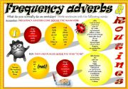 English Worksheet: FREQUENCY ADVERBS + ROUTINES