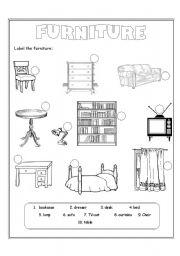 furniture - worksheet by Liliana Gheorghe | furniture exercises esl