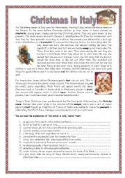 English Worksheet: Christmas in Italy with key