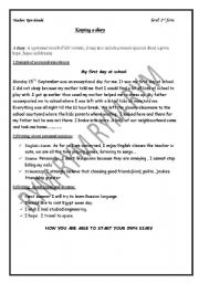 English Worksheets: a sample diary