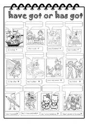 English Worksheet: Have got or has got
